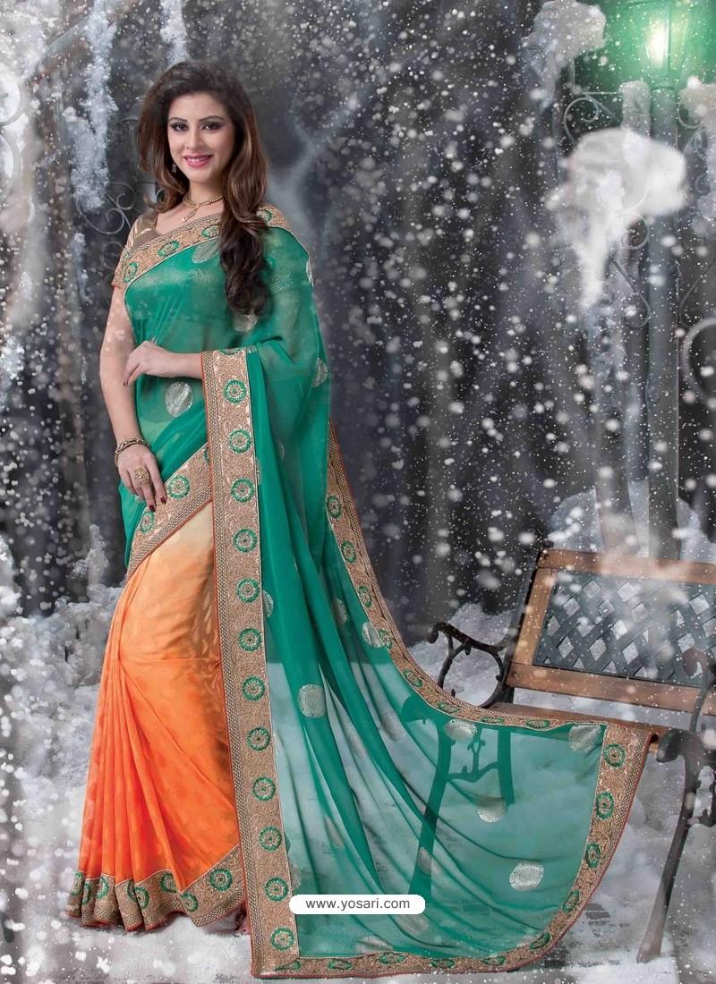 Green And Orange Embroidered Work Designer Saree
