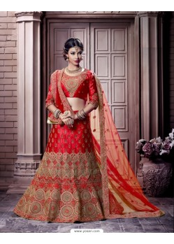 Red Satin Embroidered Bridal Lehenga Choli
