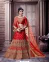 Red Satin Embroidered Bridal Lehenga Choli