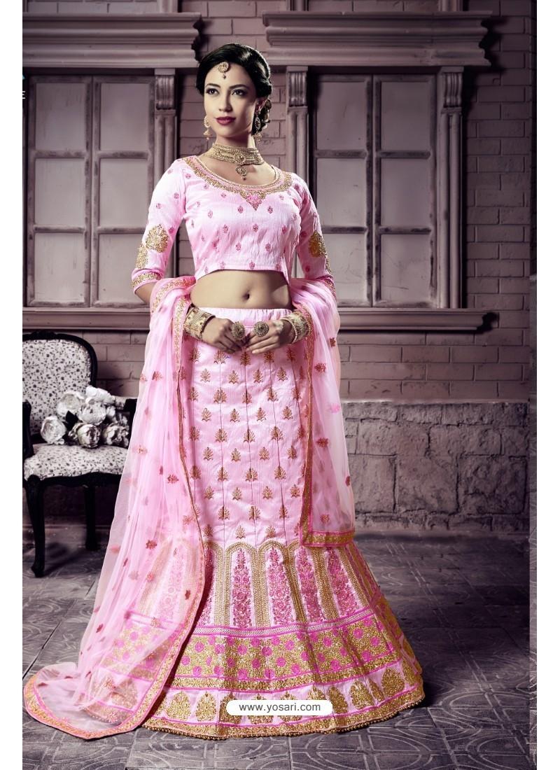 Light Pink Mastani Silk Embroidered Lehenga Choli