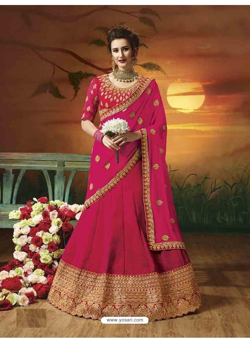 Crimson Soft Silk Embroidered Lehenga Choli