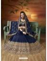 Navy Blue Soft Silk Embroidered Lehenga Choli