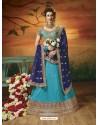 Turquoise Soft Silk Embroidered Lehenga Choli