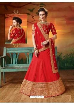 Red Soft Silk Embroidered Lehenga Choli