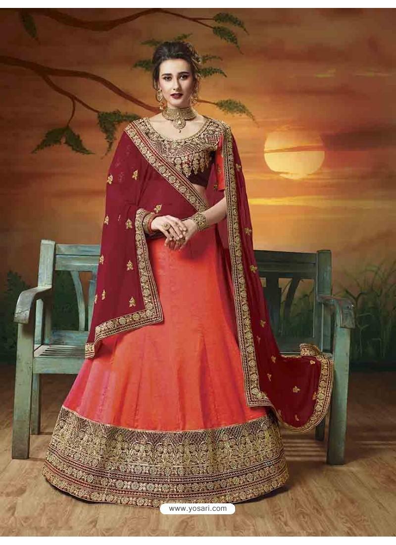 2bae83fd67 Buy Peach Soft Silk Embroidered Lehenga Choli | Designer Lehenga Choli