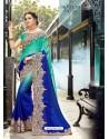 Stunning Royal Blue Rangoli Pedding Saree