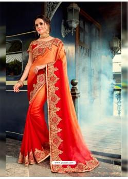 Sensational Red Rangoli Pedding Saree