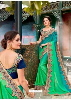 Stupendous Jade Green Rangoli Pedding Saree