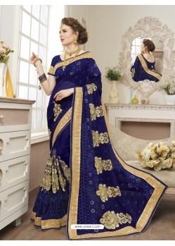 Wonderful Navy Blue Georgette Saree