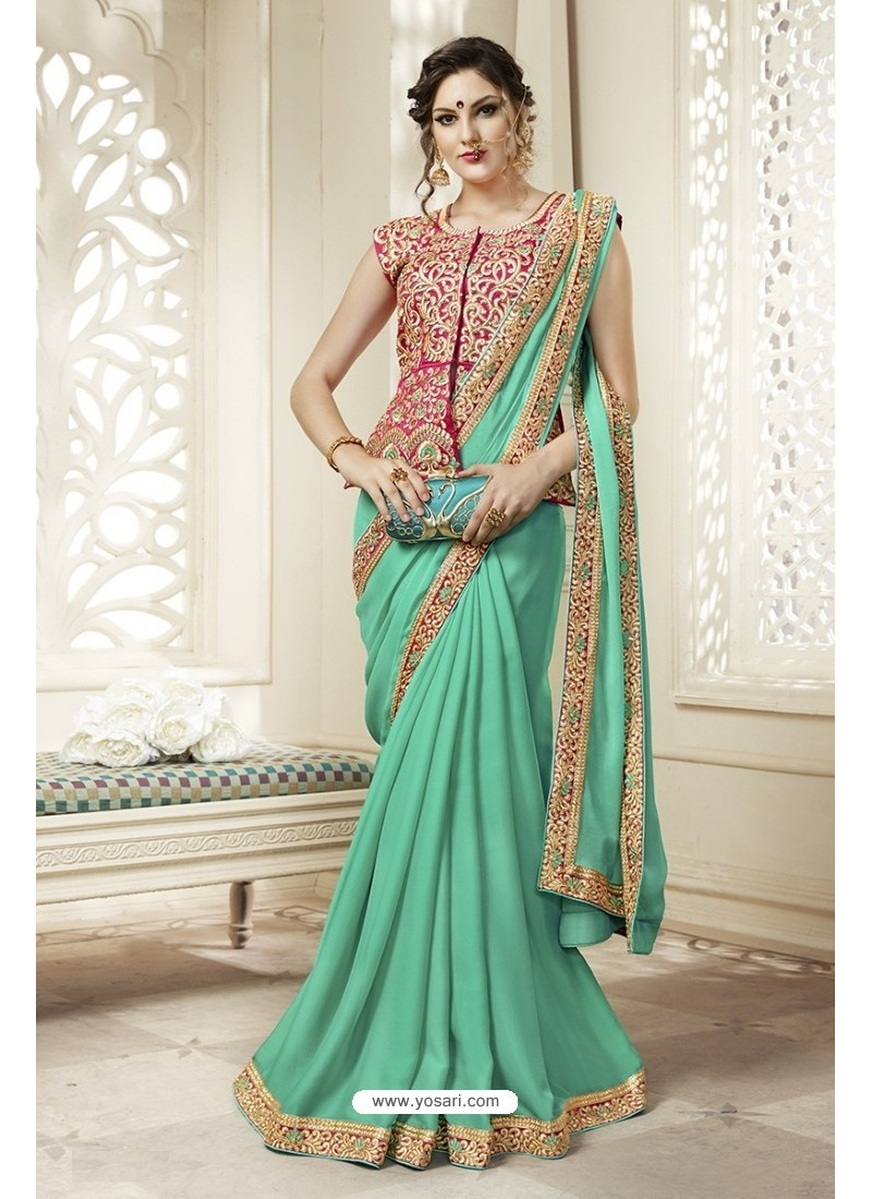 Elegant Jade Green Georgette Saree