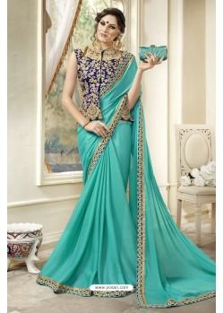 Extraordinary Turquoise Georgette Saree