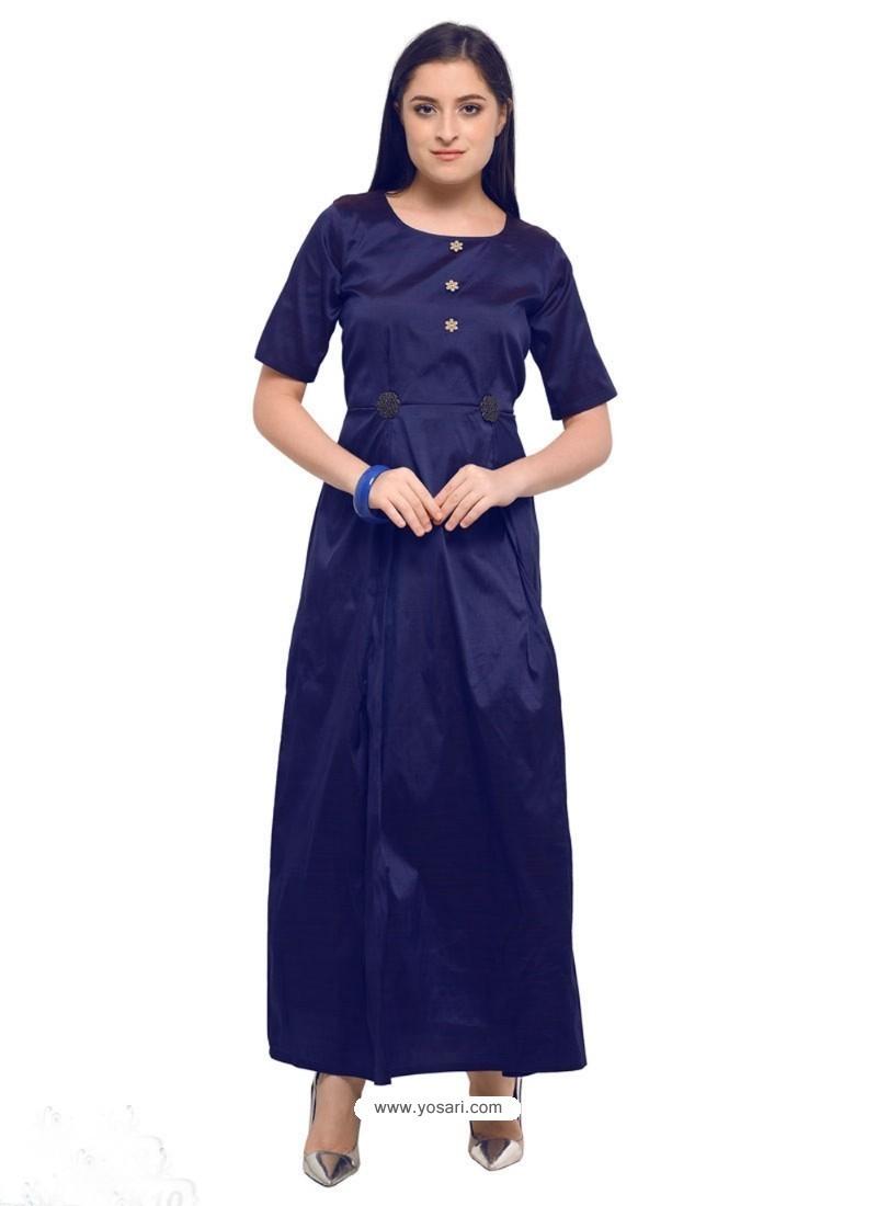 Navy Blue Poly Silk Kurti