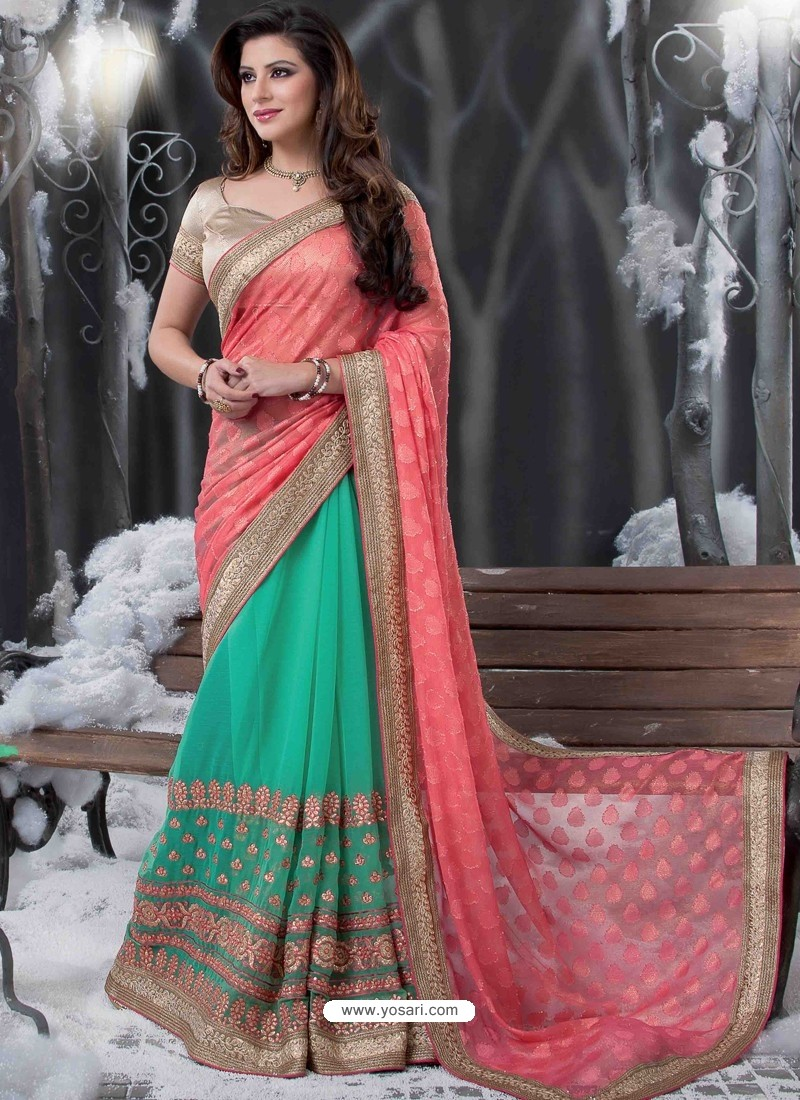 Green And Pink Embroidered Work Designer Saree