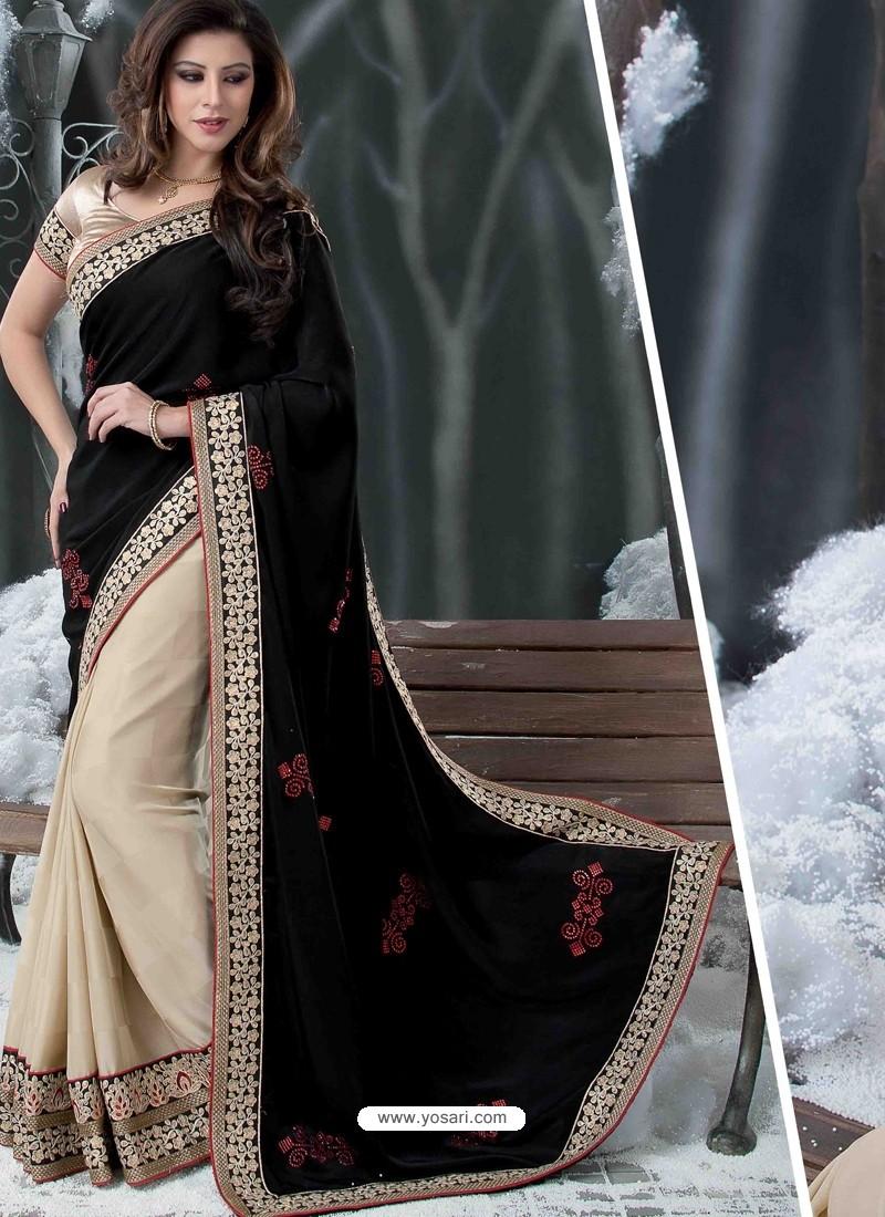 Black Embroidered Work Designer Saree