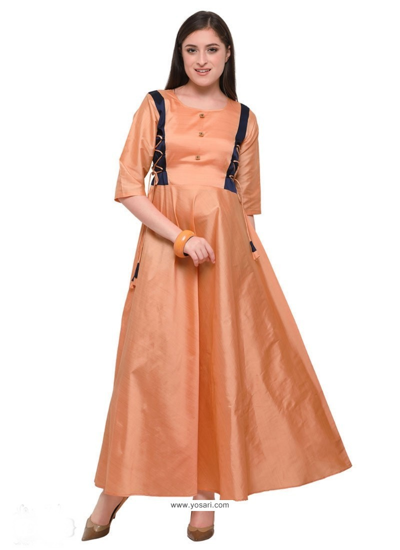 Peach Poly Silk Party Wear Kurti