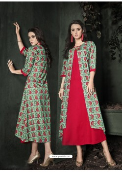 Red Cotton Rayon Printed Kurti