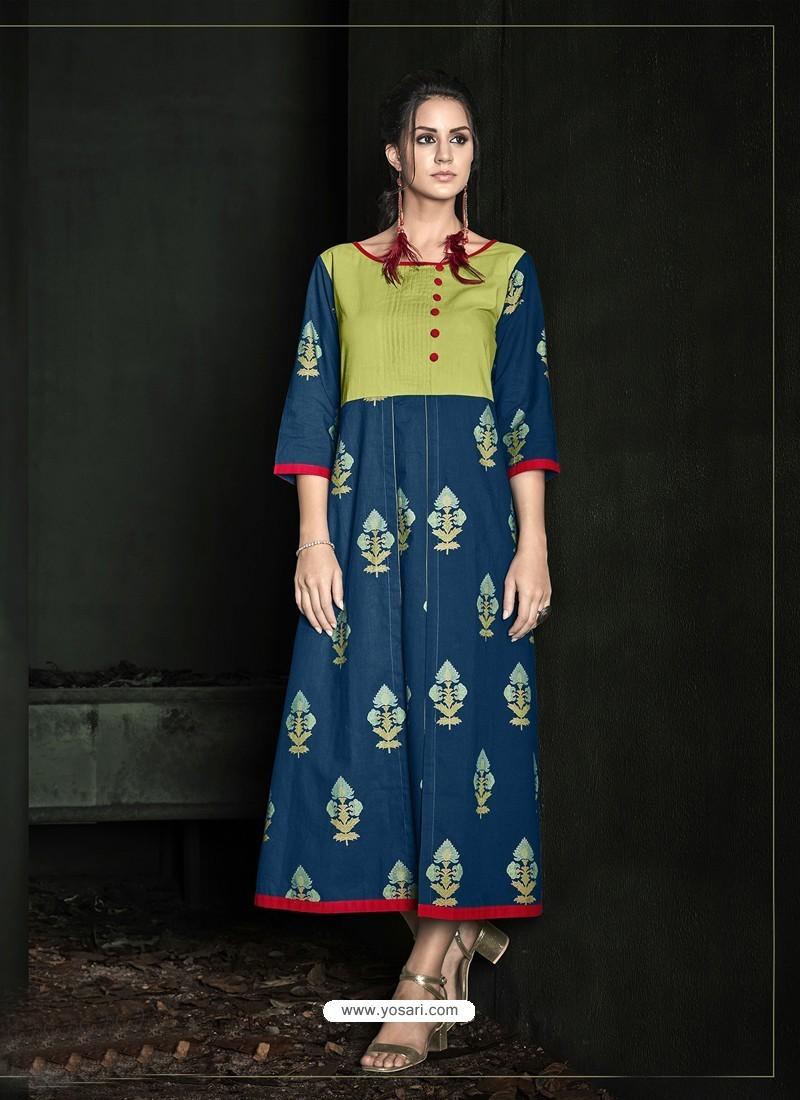 Peacock Blue Rayon Printed Kurti
