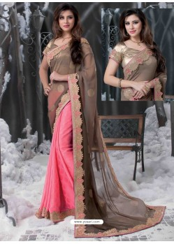 Pink And Brown Embroidered Work Designer Saree
