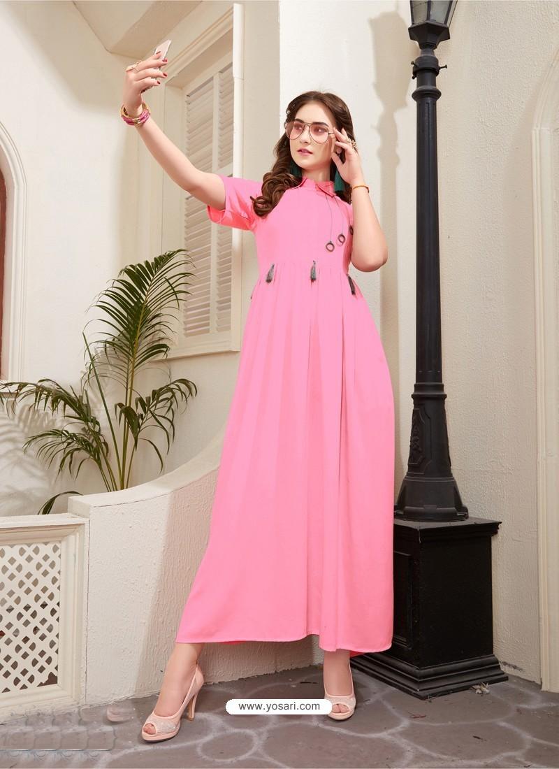 Dazzling Light Pink Rayon Kurti