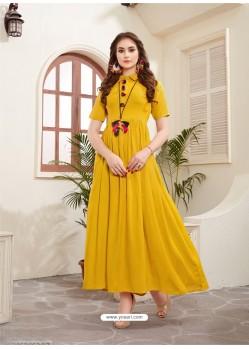 Feminine Yellow Rayon Kurti