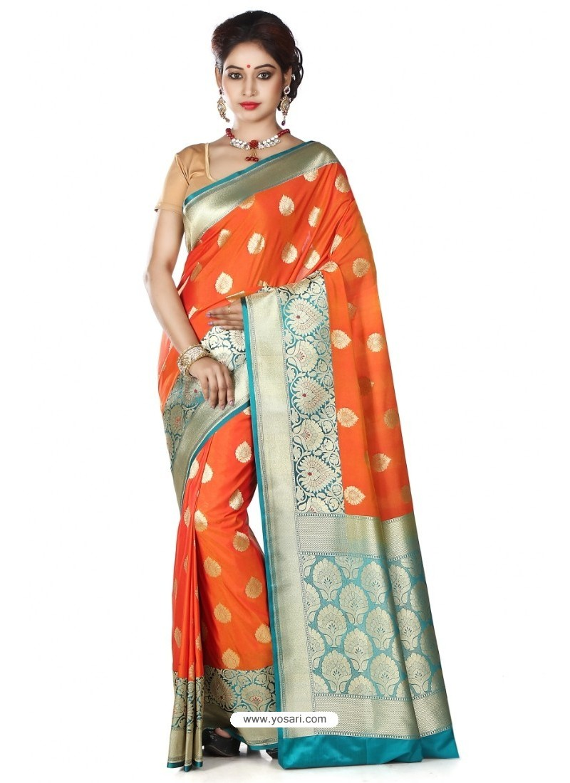 Eyeful Orange Banarasi Silk Saree