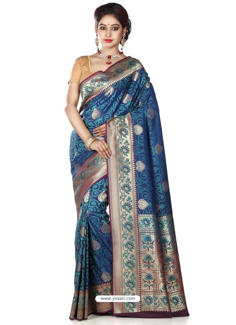 Decent Navy Blue Banarasi Silk Saree