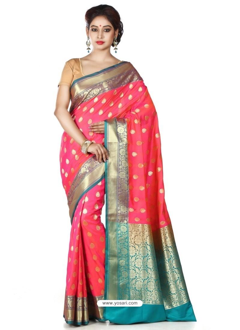 Flawless Dark Peach Banarasi Silk Saree