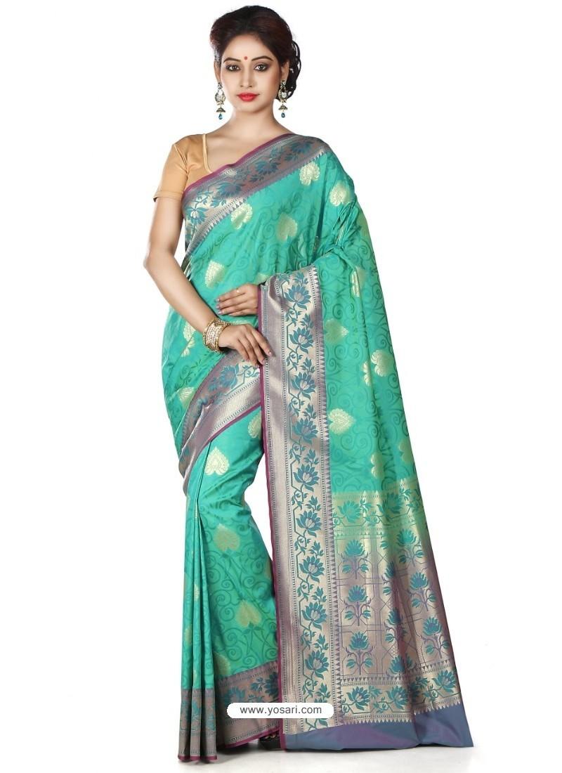 Competent Jade Green Banarasi Silk Saree
