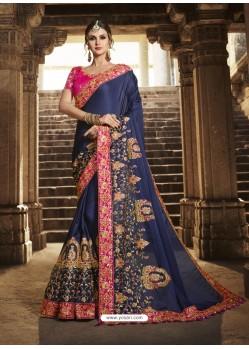 Glorious Navy Blue Silk Saree