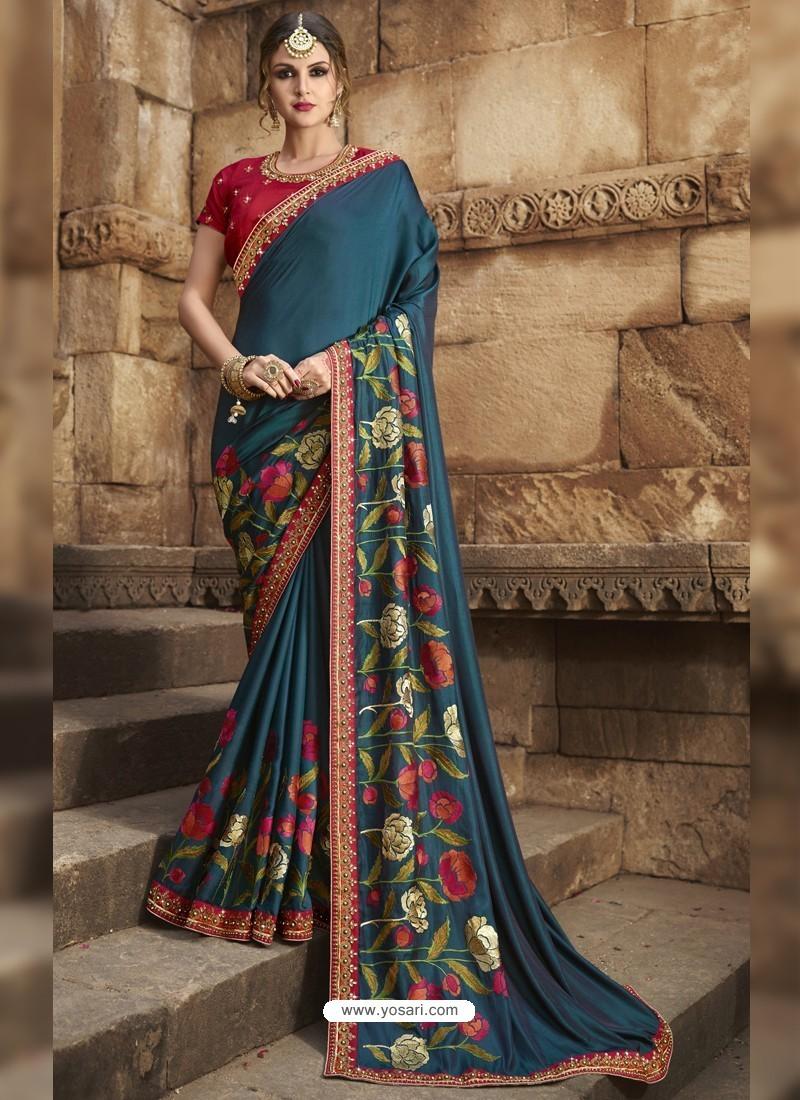 Dazzling Tealblue Silk Saree