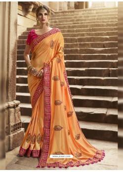 Feminine Orange Silk Saree