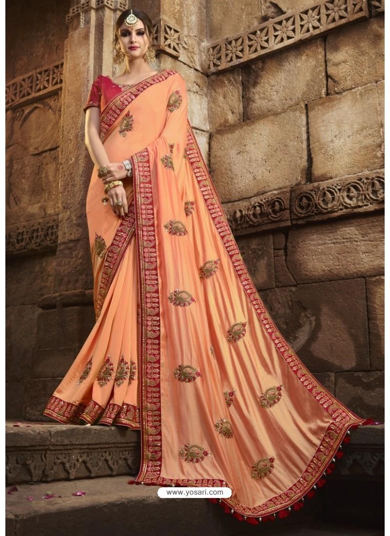 Fantastic Peach Silk Saree