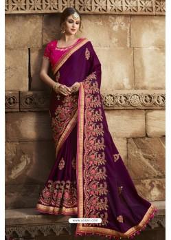 Eyeful Purple Silk Saree