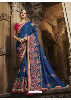 Flawless Dark Blue Silk Saree