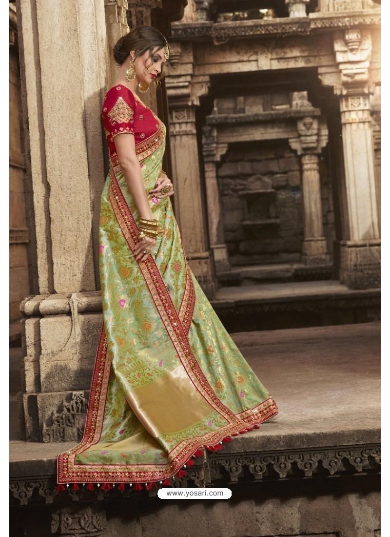 Gorgeous Sea Green Silk Saree