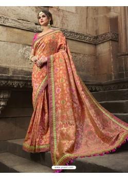 Fab Peach Silk Saree