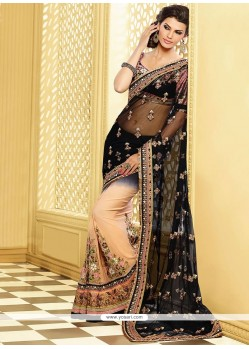 Black And Cream Shaded Pure Georgette Half And Half Saree