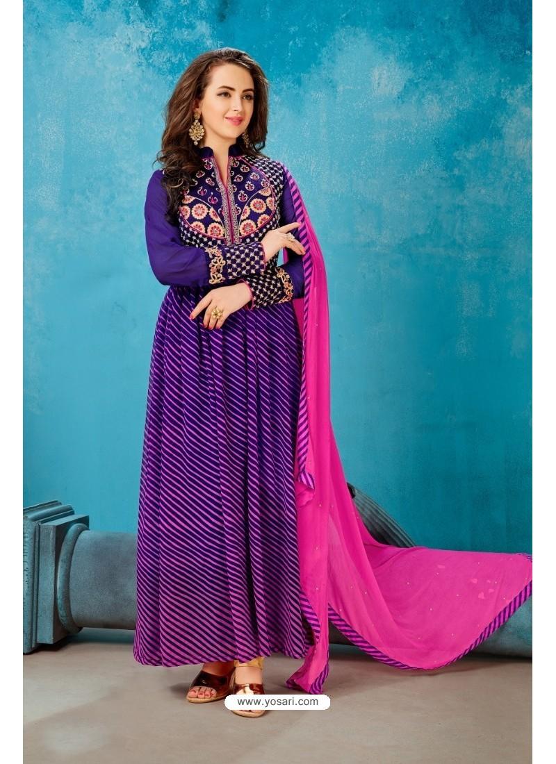 Purple Georgette Printed Floor Length Suit