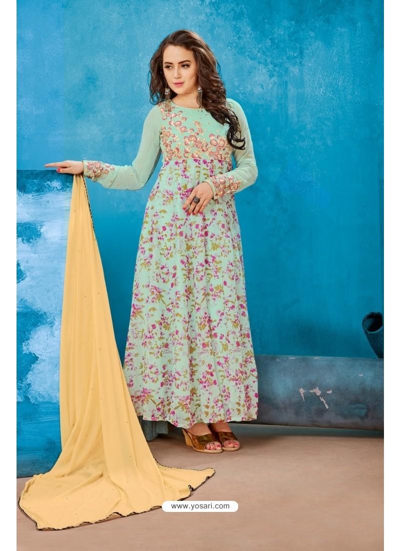 Sea Green Georgette Printed Floor Length Suit