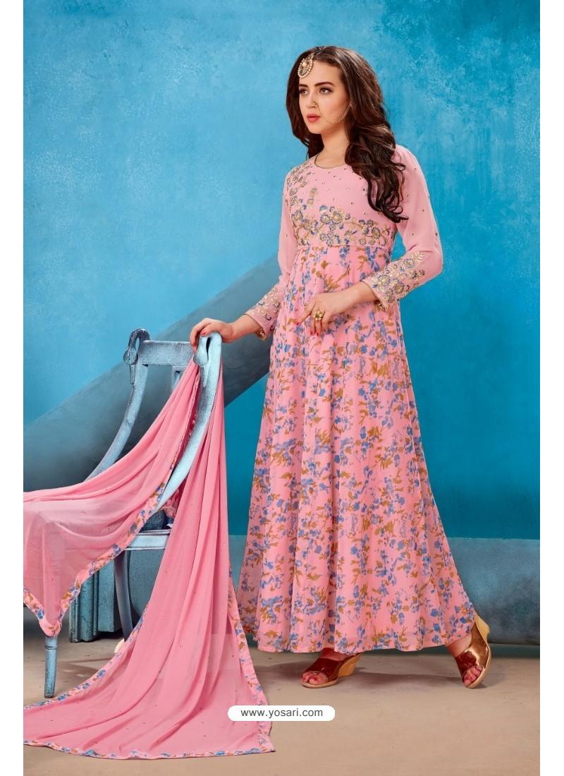 Peach Georgette Printed Floor Length Suit