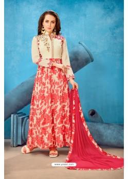 Cream Georgette Printed Floor Length Suit
