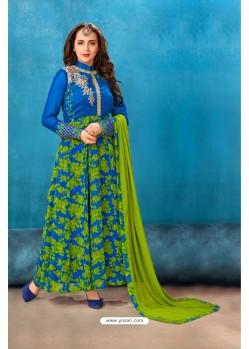 Blue Georgette Printed Floor Length Suit