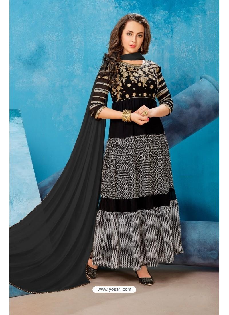 Black Georgette Printed Floor Length Suit