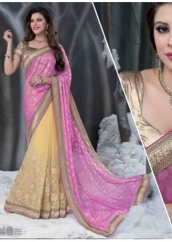 Pink And Cream Embroidered Work Designer Saree