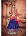 Splendid Dark Blue Banarasi Silk Lehenga Choli