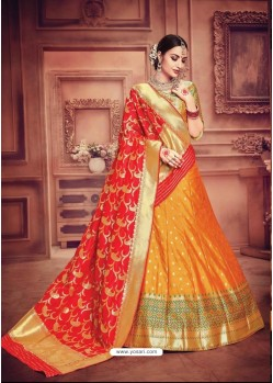 Amazing Orange Banarasi Silk Lehenga Choli