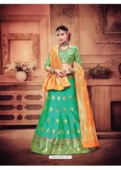 Glorious Jade Green Banarasi Silk Lehenga Choli