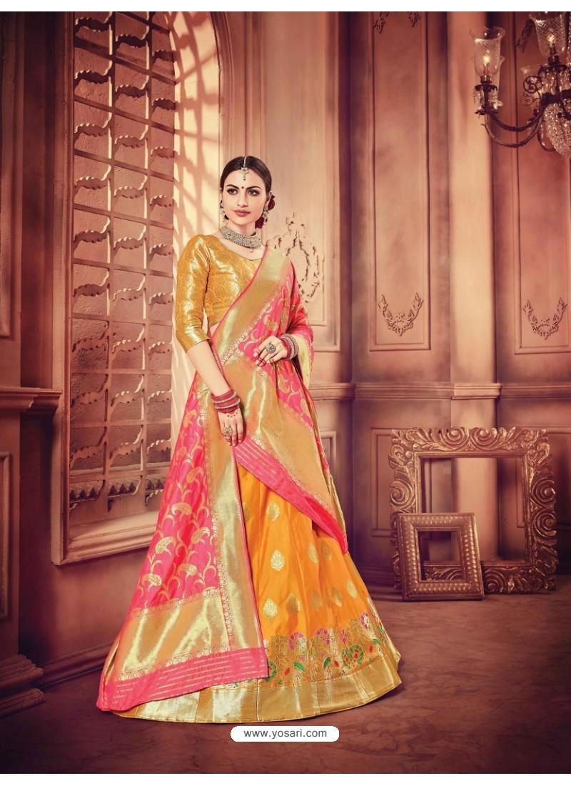 Lovely Mustard Banarasi Silk Lehenga Choli