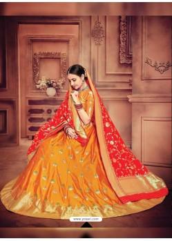 Mustard Banarasi Silk Lehenga Choli