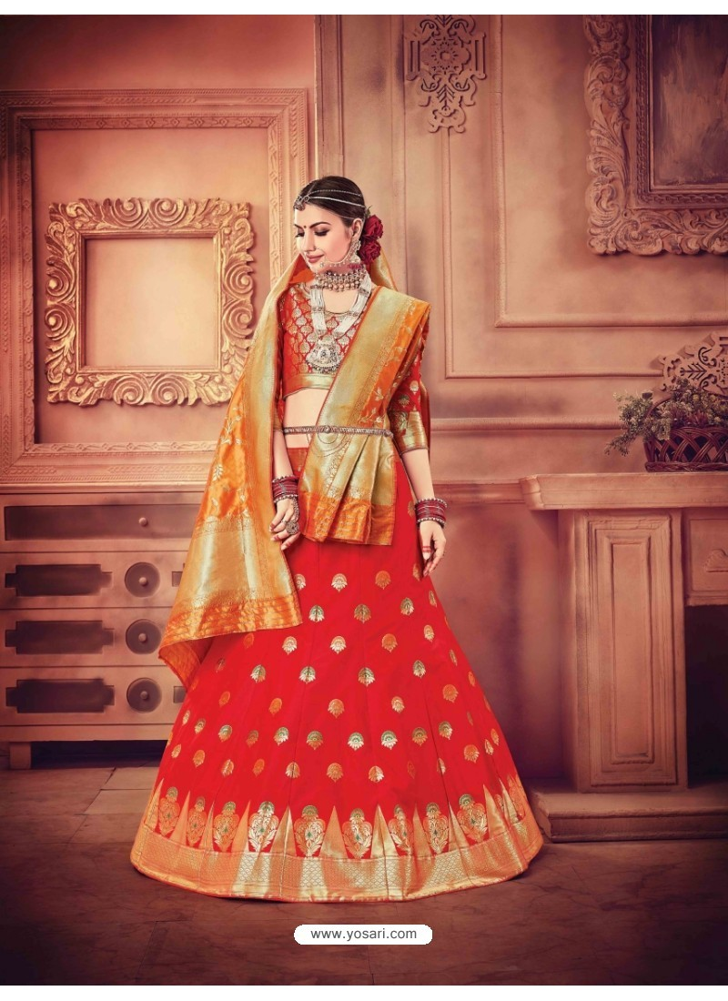 Dazzling Red Banarasi Silk Lehenga Choli